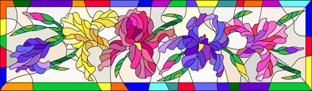 Illustration in stained glass style with flowers, buds and leaves of iris