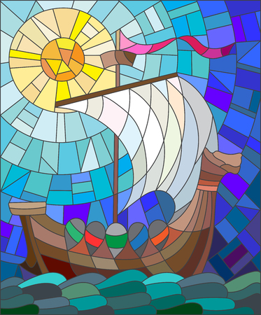 blue glass: Illustration in stained glass style with antique ship against the sea, sky and sun