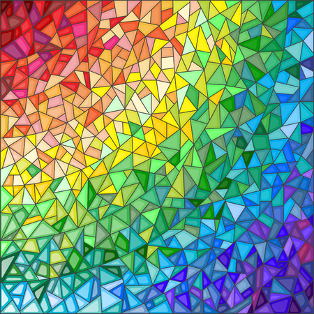 an example: Abstract stained glass background , the colored elements arranged in rainbow spectrum