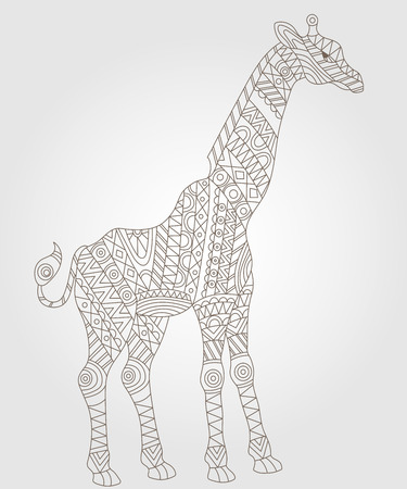 camelopardalis: Illustration of abstract contour of a giraffe on white background