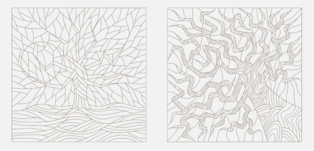 an example: Set contour illustrations of stained glass with the image of the trees