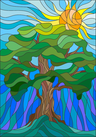 Illustration in stained glass style with tree on sky background and sun