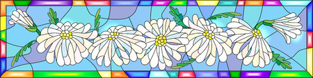 an example: Illustration in stained glass style with flowers, buds and leaves of chamomile