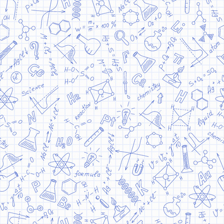 endlessly: Seamless pattern with formulas,graphs, and equipment as the subject of chemistry ,dark blue outline on notebook sheet in a cage Illustration