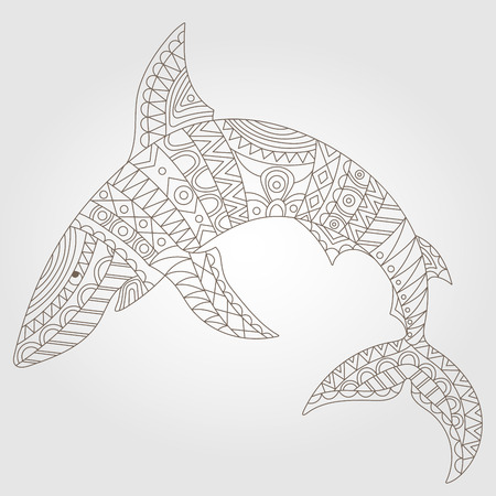 Contour illustration of an abstract shark, dark outline on a light background