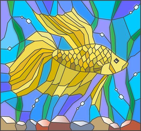 Illustration in stained glass style with yellow fighting fish on the background of water and algae Illustration