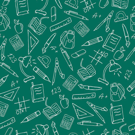 an example: Seamless pattern on the theme of the school, a simple contour icons, light outline on a green background