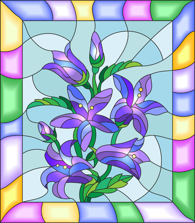 campanula: Illustration in stained glass style with flowers, buds and leaves of  campanula flowers