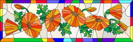buds: Illustration in stained glass style with flowers, buds and leaves of calendula