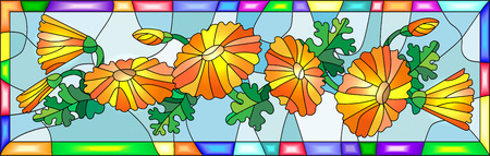 calendula: Illustration in stained glass style with flowers, buds and leaves of calendula