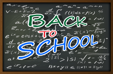 beginning school year: The background image in the form of a school blackboard with chalk stains and drawings on the theme of the beginning of the school year and education