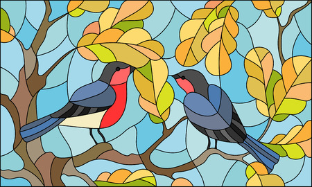 Illustration in stained glass style on the theme of autumn, two bullfinches in the sky and oak  leaves