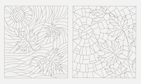 stained glass windows: Set contour illustrations of the stained glass Windows on the theme of autumn maple leaves against the sky