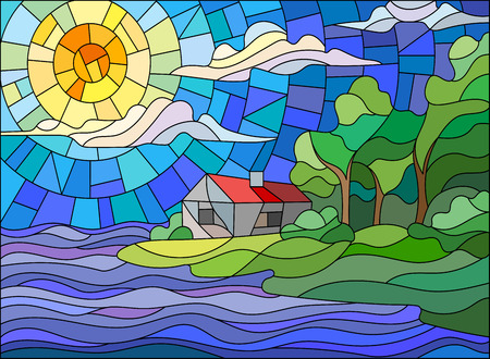 ridge: The image in the stained glass style landscape with a lonely house on a background of sky and sea