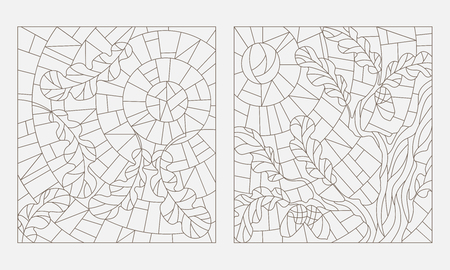 stained glass windows: Set contour illustrations of the stained glass Windows on the theme of autumn, the oak leaves on background sky and sun Illustration