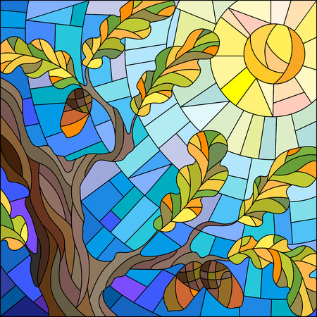 glass windows: Illustration in stained glass style with oak leaves on background sky and sun