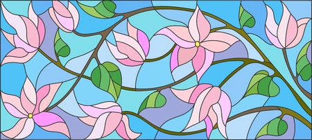 Illustration in stained glass style with abstract cherry blossoms on a blue background