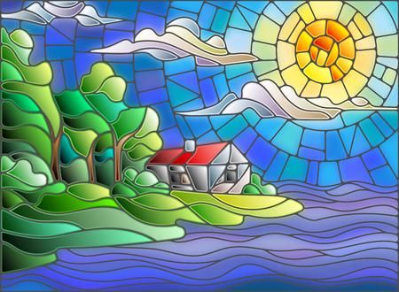 La imagen en el paisaje del estilo del vitral con una casa solitaria sobre un fondo de cielo y el mar Ilustración de vector