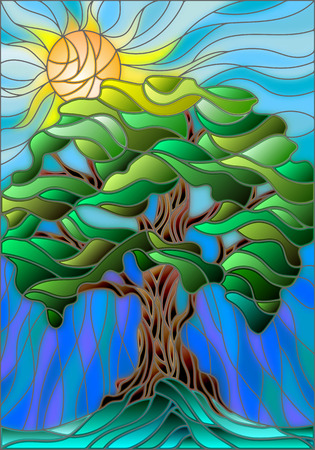 compose: Illustration in stained glass style with tree on sky background and sun