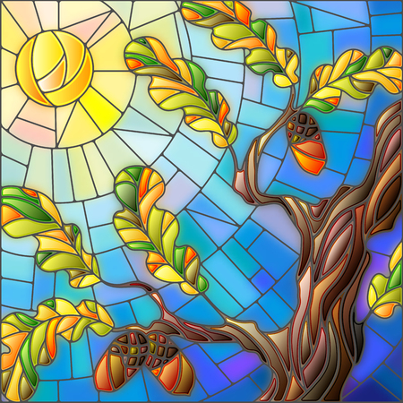 Illustration in stained glass style with oak leaves on background sky and sun
