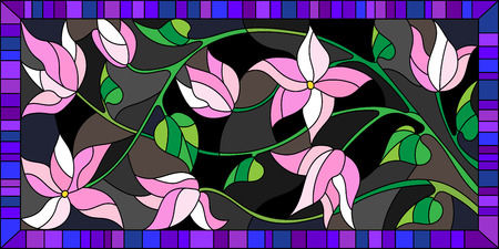 Illustration in stained glass style, the branch with flowers on a dark background