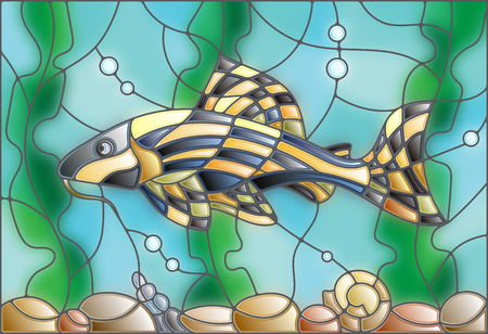 catfish: Illustration in stained glass style with a catfish on the background of water and algae