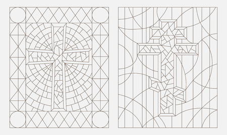 doctrine: Set contour illustrations with Christian cross