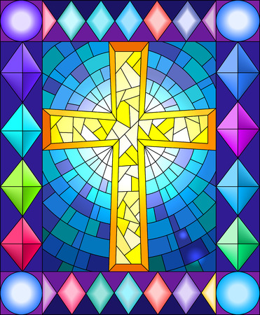 Illustration in stained glass style with a cross