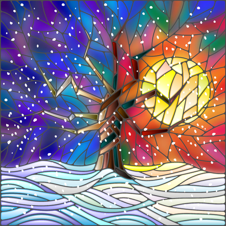 Winter landscape in the stained glass style with a lone tree against the bright sun and snow Illustration