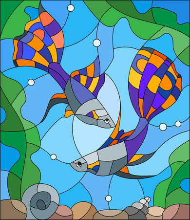 guppies: Illustration in stained glass style with a pair of guppies on the background of water and algae