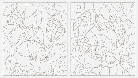 guppy: Set contour illustrations of stained glass with aquarium fish
