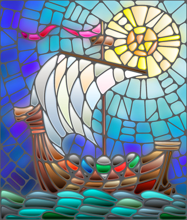 Illustration in stained glass style with antique ship against the sea, sky and sun
