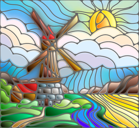 The image in the stained glass style landscape with a  windmill on a background of sky and sun Illustration