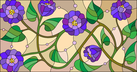 Illustration in stained glass style with abstract blue flowers on a beige background Vettoriali