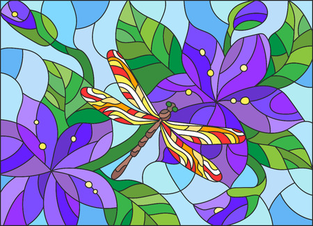 bright sky: Illustration in stained glass style with bright dragonfly against the sky, foliage and flowers Illustration