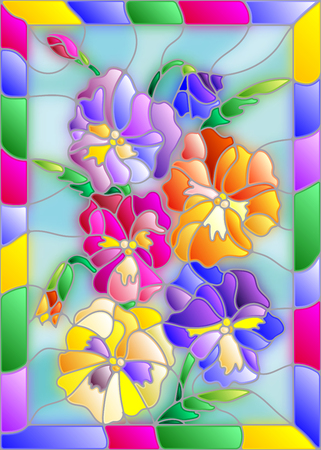 pansy: Illustration in stained glass style with flowers, buds and leaves of pansy