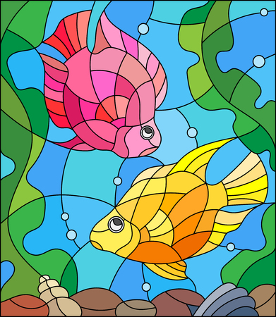 parrotfish: Illustration in stained glass style with a pair of princess parrotfish on the background of water and algae