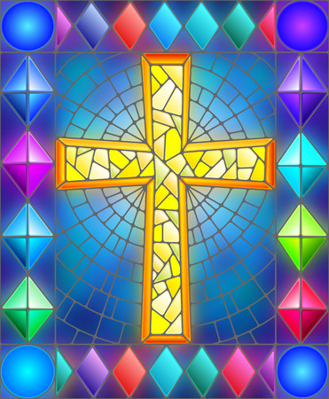 catholicism: Illustration in stained glass style with a cross