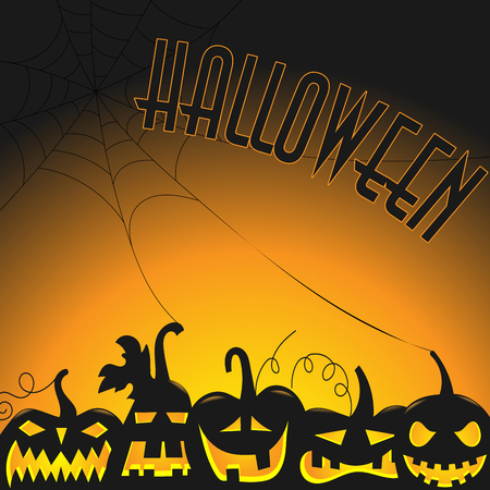 Background for Halloween party, dark silhouettes of pumpkins with glowing eyes on orange background with spider webs Illustration