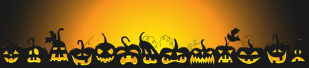 Horizontal background for Halloween, the dark silhouettes of pumpkins with glowing eyes on orange background