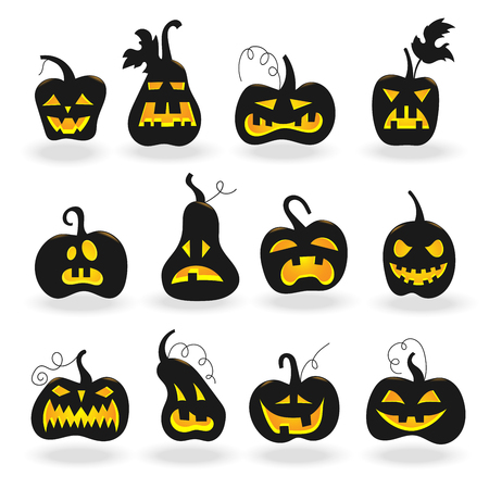 dark eyes: Set for Halloween, the dark silhouettes of pumpkins with glowing eyes white background