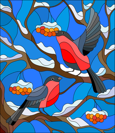 mountain ash: Illustration in stained glass style with a pair of bullfinches, on the background of snow-covered mountain ash tree Illustration