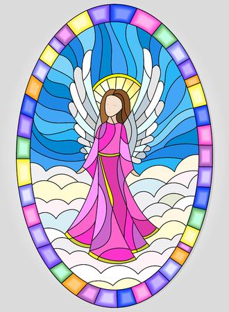 Illustration en vitrail ange de style de verre dans un cadre ovale sur un fond de ciel et les nuages Banque d'images - 62986182