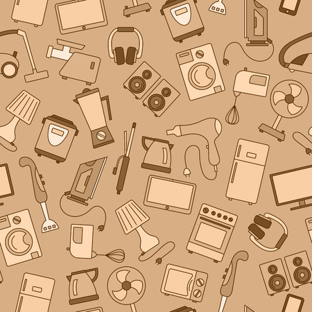 gamma: Seamless background with a simple  icons on the topic of household appliances, gamma beige