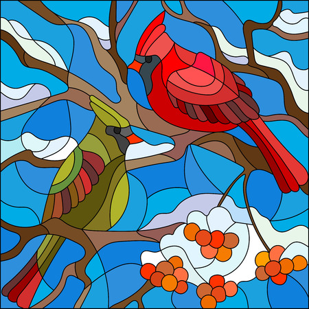 no snow: Illustration in stained glass style , pair of birds cardinals sitting on a branch of mountain ash on a background of sky and no snow