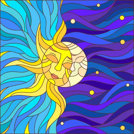 Illustration dans un style teinté de verre, résumé soleil et la lune dans le ciel Vecteurs