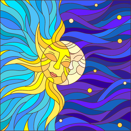 hot couple: Illustration in stained glass style , abstract sun and moon in the sky