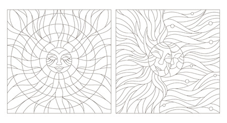 stained glass windows: Set contour illustration of stained glass Windows with the heavenly bodies Illustration