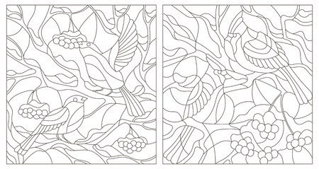 Set contour illustration of stained glass with winter birds bullfinches and cardinals on branches of a mountain ash