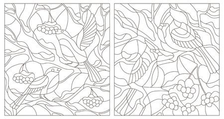Set Kontur Illustration von Glasmalerei mit Winter Vögel Bullfinches und Kardinäle auf Zweige einer Bergasche
